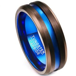 COI Tungsten Carbide Black Blue Center Groove Ring-TG3506