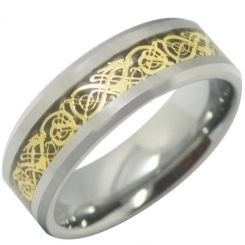 COI Titanium Gold Tone Silver Dragon Beveled Edges Ring-3513