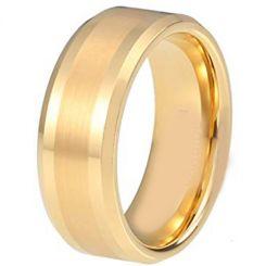 COI Gold Tone Titanium Center Line Beveled Edges Ring - JT3557