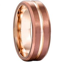 COI Rose Tungsten Carbide Center Groove Ring-TG356