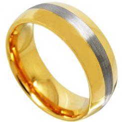COI Tungsten Carbide Gold Tone Silver Center Line Dome Court Ring-TG4368