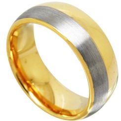 COI Tungsten Carbide Offset Line Dome Court Ring-TG4369