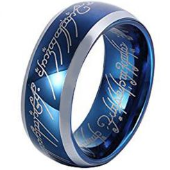 *COI Titanium Blue Silver Lord of The Ring Beveled Edges Ring-3615