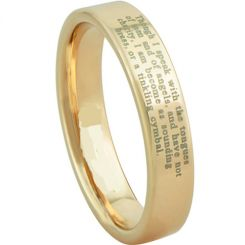 COI Gold Tone Tungsten Carbide Ring With Custom Engraving-TG3620