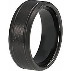 COI Black Titanium Sandblasted Double Grooves Ring-3632