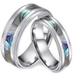 COI Tungsten Carbide Abalone Shell Step Edges Ring-TG3635