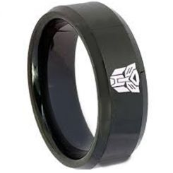 COI Black Tungsten Carbide Transformer Beveled Edges Ring-TG3636