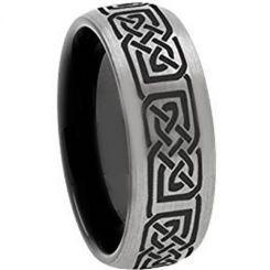 COI Titanium Black Silver Celtic Dome Court Ring-3648
