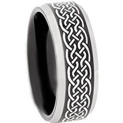 COI Titanium Black Silver Celtic Beveled Edges Ring-3651