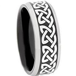 COI Titanium Black Silver Celtic Beveled Edges Ring-3653