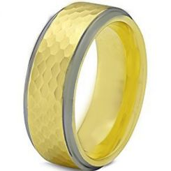COI Tungsten Carbide Gold Tone Silver Hammered Ring-TG1955