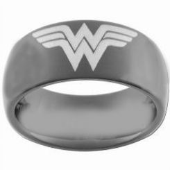 COI Black Tungsten Carbide Wonder Woman Dome Court Ring-TG3681