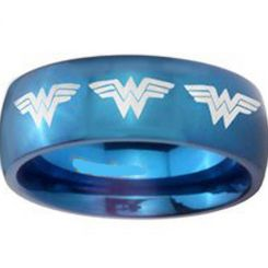 COI Blue Titanium Wonder Woman Dome Court Ring-4051