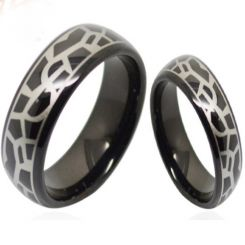 COI Black Tungsten Carbide Snake Skin Dome Court Ring-TG3687
