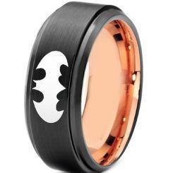 *COI Tungsten Carbide Black Rose Batman Step Edges Ring-TG3691