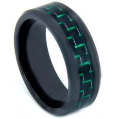COI Black Tungsten Carbide Carbon Fiber Beveled Edge Ring-TG3692