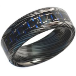 COI Black Titanium Damascus Ring With Carbon Fiber-3693