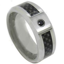 COI Titanium Carbon Fiber & Cubic Zirconia Ring-JT5037