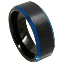COI Tungsten Carbide Black Blue Beveled Edges Ring-TG3718