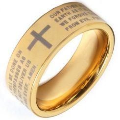 COI Gold Tone Titanium Cross Scripture Pipe Cut Flat Ring-371