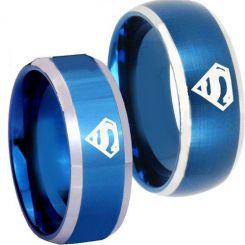 *COI Titanium Blue Silver Superman Beveled Edges Ring-3722