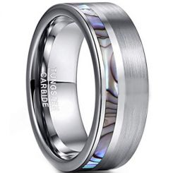 COI Tungsten Carbide Offset Abalone Shell Pipe  Cut Ring-TG3755