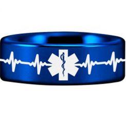 COI Blue Titanium HeartBeat Medic Alert Pipe Cut Flat Ring-3769