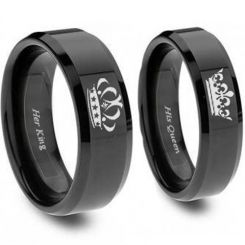 COI Black Titanium King Queen Crown Beveled Edges Ring - JT3770
