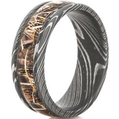 COI Black Titanium Camo Damascus Beveled Edges Ring - JT3782