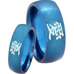 COI Blue Tungsten Carbide Kanji Love Dome Court Ring-TG3786