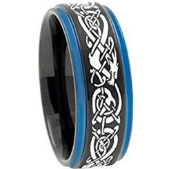 COI Titanium Black Blue Dragon Step Edges Ring-3797
