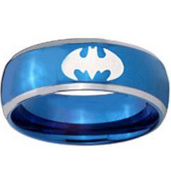 *COI Titanium Blue Silver Batman Beveled Edges Ring-1983