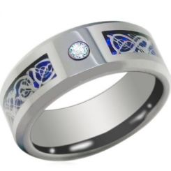 COI Titanium Dragon Ring With Cubic Zirconia-3844