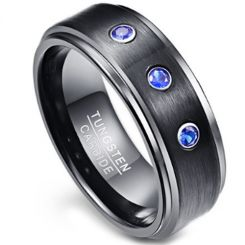 COI Tungsten Carbide Ring With Created Sapphire - TG3851