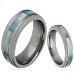 COI Titanium Step Edges Ring With Abalone Shell-3858