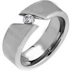 COI Tungsten Carbide Solitaire Cubic Zirconia Ring-TG1460A