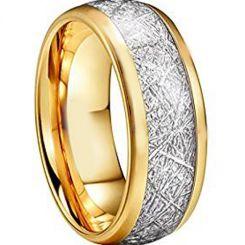 COI Gold Tone Titanium Meteorite Dome Court Ring-3873