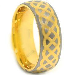 COI Tungsten Carbide Gold Tone Silver Celtic Dome Ring-TG3876