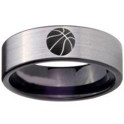 COI Titanium Black Silver Basketball Pipe Cut Flat Ring-3886