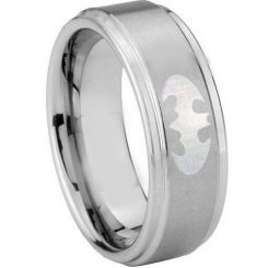 COI Tungsten Carbide Batman Step Edges Ring-TG3890