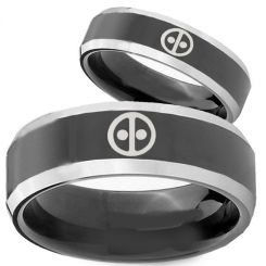 COI Tungsten Carbide Black Silver Deadpool Ring-TG3894