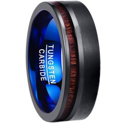 COI Tungsten Carbide Black Blue Offset Wood Ring-TG3901