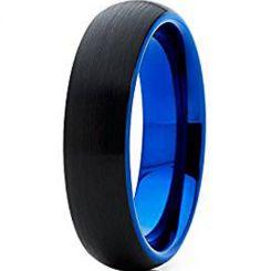 *COI Titanium Black Blue Dome Court Ring-3911