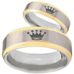 COI Tungsten Carbide King Crown Step Edges Ring - TG3920BB