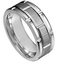 *COI Tungsten Carbide Brick Pattern Ring - TG3935