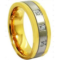 COI Tungsten Carbide Gold Tone Silver Cubic Zirconia Ring-3943