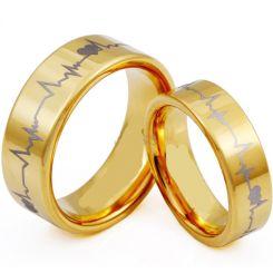 COI Gold Tone Tungsten Carbide HeartBeat Pipe Cut Ring-TG3953