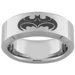 COI Tungsten Carbide Batman & Robin Pipe Cut Flat Ring-TG3957