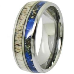 COI Titanium Deer Antler & Blue Wood Dome Court Ring-3981