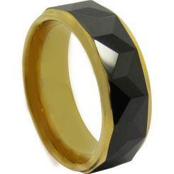 COI Titanium Black Gold Tone Faceted Ring-JT5019